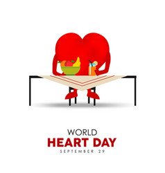 world heart day card for nutrition and health care vector image