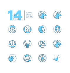 zodiac signs - set of line design style icons vector image
