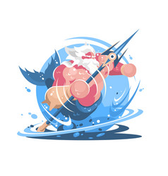 character poseidon with trident vector image vector image
