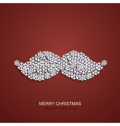 modern mustache snowflakes on red vector image vector image
