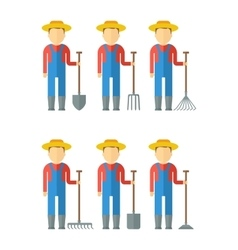 set of farmers with equipment vector image vector image