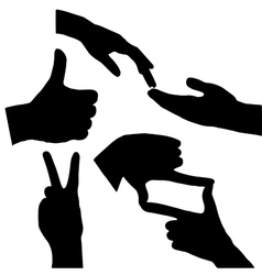 Set of high quality hand gestures vector image vector image