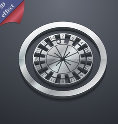 Casino roulette wheel icon symbol 3d style trendy vector