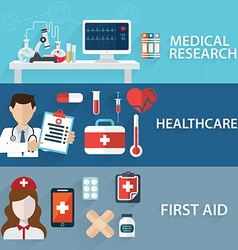 Health care and Medical flat banners set with vector image vector image