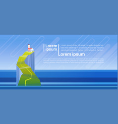 lighthouse tower on mountain in sea ocean vector image