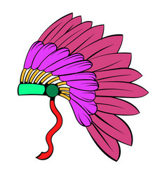 Native american feather headdress icon cartoon vector