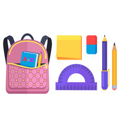 pink rucksack with pocket on back with abc book vector image
