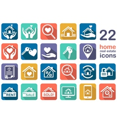 real estate home icon set vector image