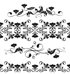 set swirling decorative floral elements vector image vector image