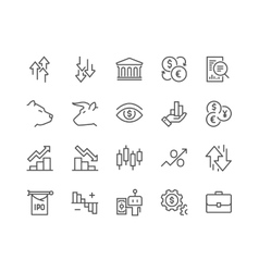 Line Stock Market Icons vector image vector image