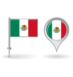 Mexican pin icon and map pointer flag vector image