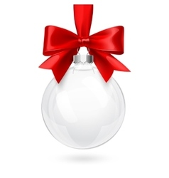 Christmas Glass Ball with Red Bow vector image vector image