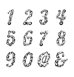 ornate patterned numbers and symbol collection vector image