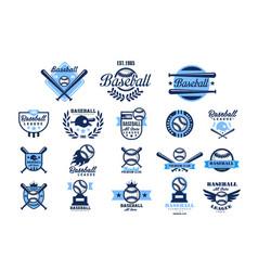 set of american baseball logo original blue vector image