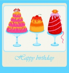 sweet cakes set for birthday vector image