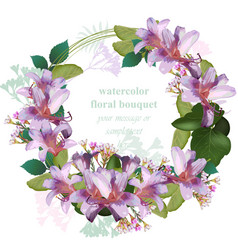 watercolor tropic floral beauty wreath card vector image vector image