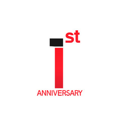1 year anniversary logotype with black and red vector