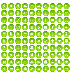 100 farm icons set green vector image