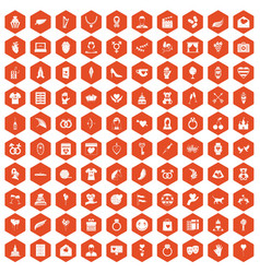 100 heart icons hexagon orange vector