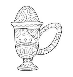 Adult coloring bookpage a cute cup with an egg vector