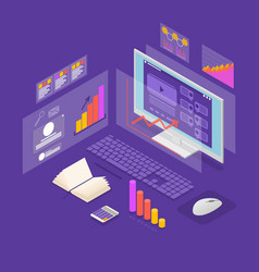 analysis data investment concept 3d isometric view vector image
