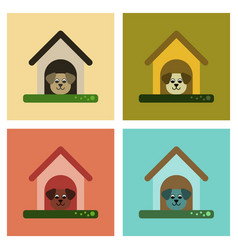 Assembly flat icons dog in booth vector