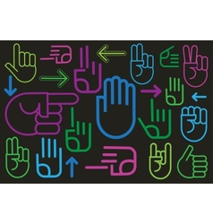 Background of various hand signs vector image
