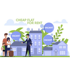 Banner with traveling family and realtor at work vector