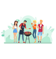 Barbecue leisure people frying meat grill vector