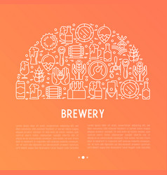 beer concept in half circle with thin line icons vector image