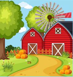 Big barns in farmyard vector