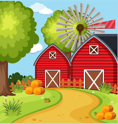 Big barns in the farmyard vector