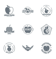 Bio food logo set simple style vector