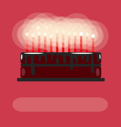 birthday cake with candles on a pink background vector image