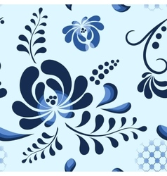 Blue Floral Pattern in russian style vector image