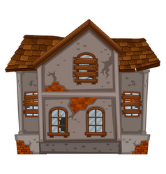 Brickhouse with ruined windows vector