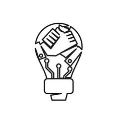 Bulb hand commitment teamwork together outline vector