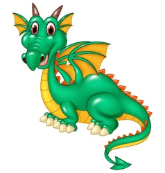 Cartoon happy green dragon isolated vector