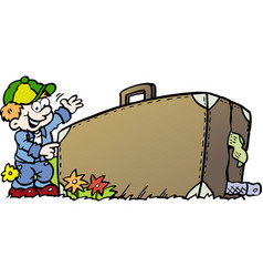 cartoon of an traveling boy with his suitcase vector image