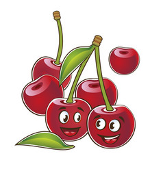 cherry cute characters set in cartoon style vector image