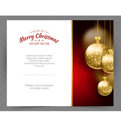 Christmas balls template background vector image