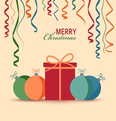 Christmas card with gift and colored balls vector
