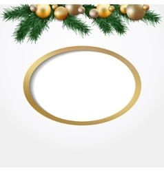 christmas greeting card garland fir twigs vector image