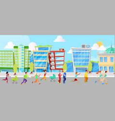 City running people fitness vector