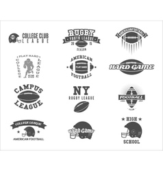 College rugby and american football team badges vector image