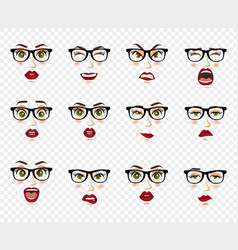 comic emotions woman with glasses facial vector image