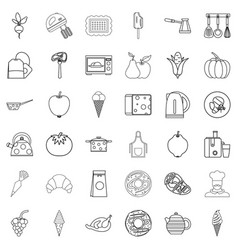 cooking icons set outline style vector image