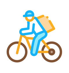 courier delivery bicycle icon outline vector image