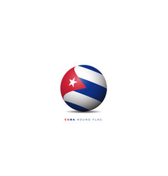 Cuba round flag independence day design vector