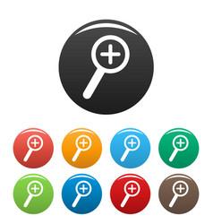 Cursor magnifier plus icons set color vector
